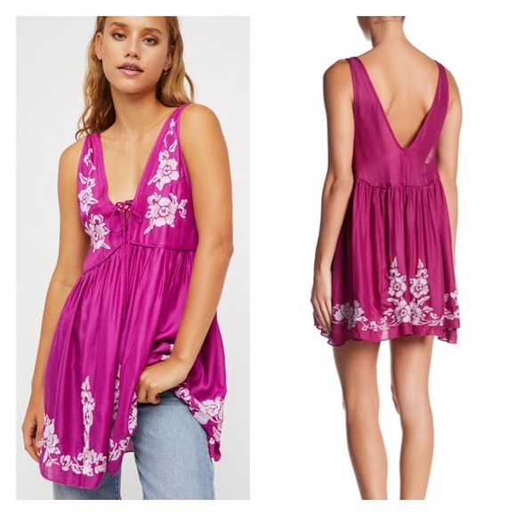 77d3655656e NWT Free People 🌸 Embroidered Slip Dress